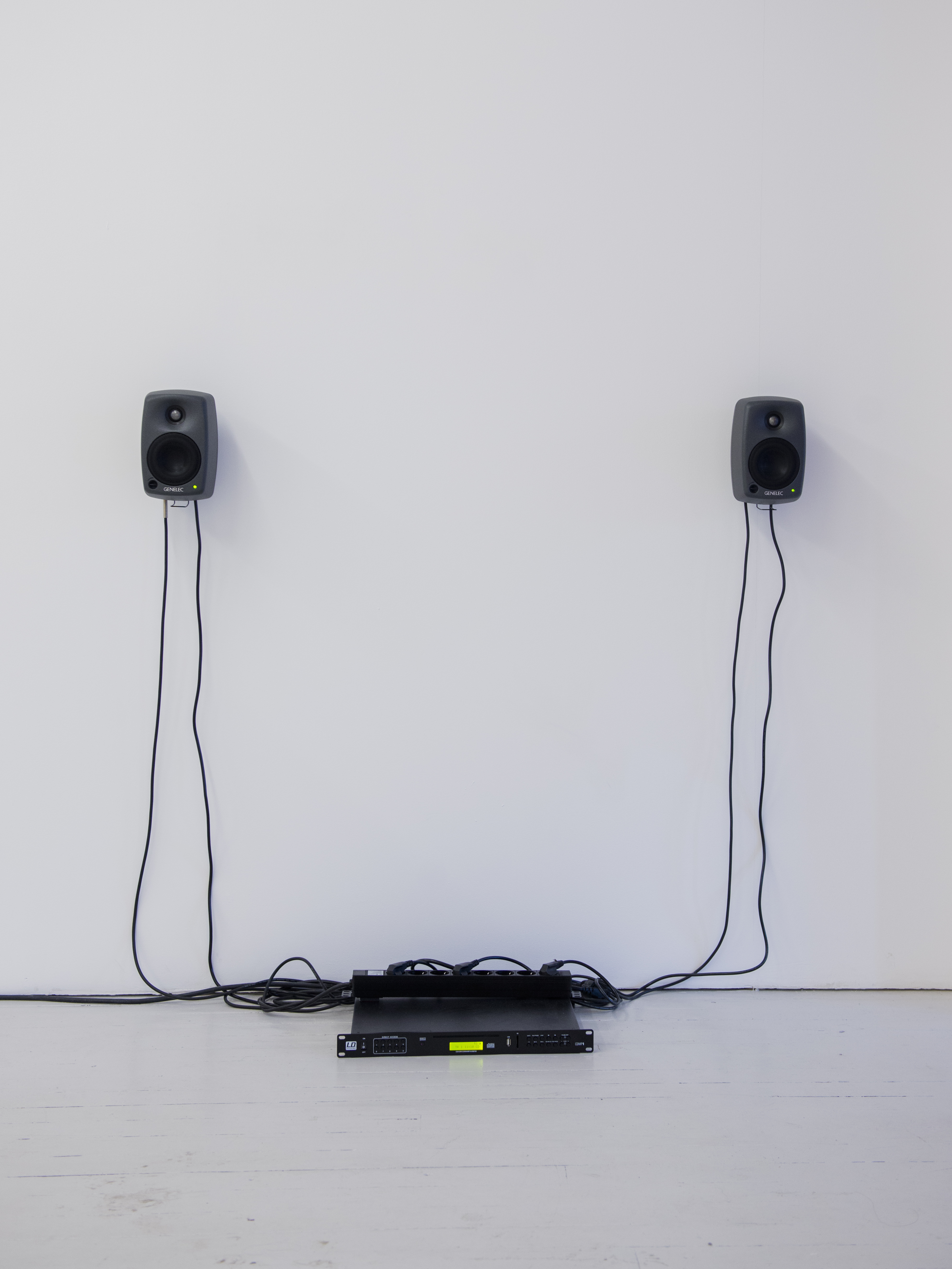 Untitled (2016), recording environments (thunderstorm), background noise and voices,sound 18' loop,stereo diffusion, rack CD player, cables, ph Ayat Gali
