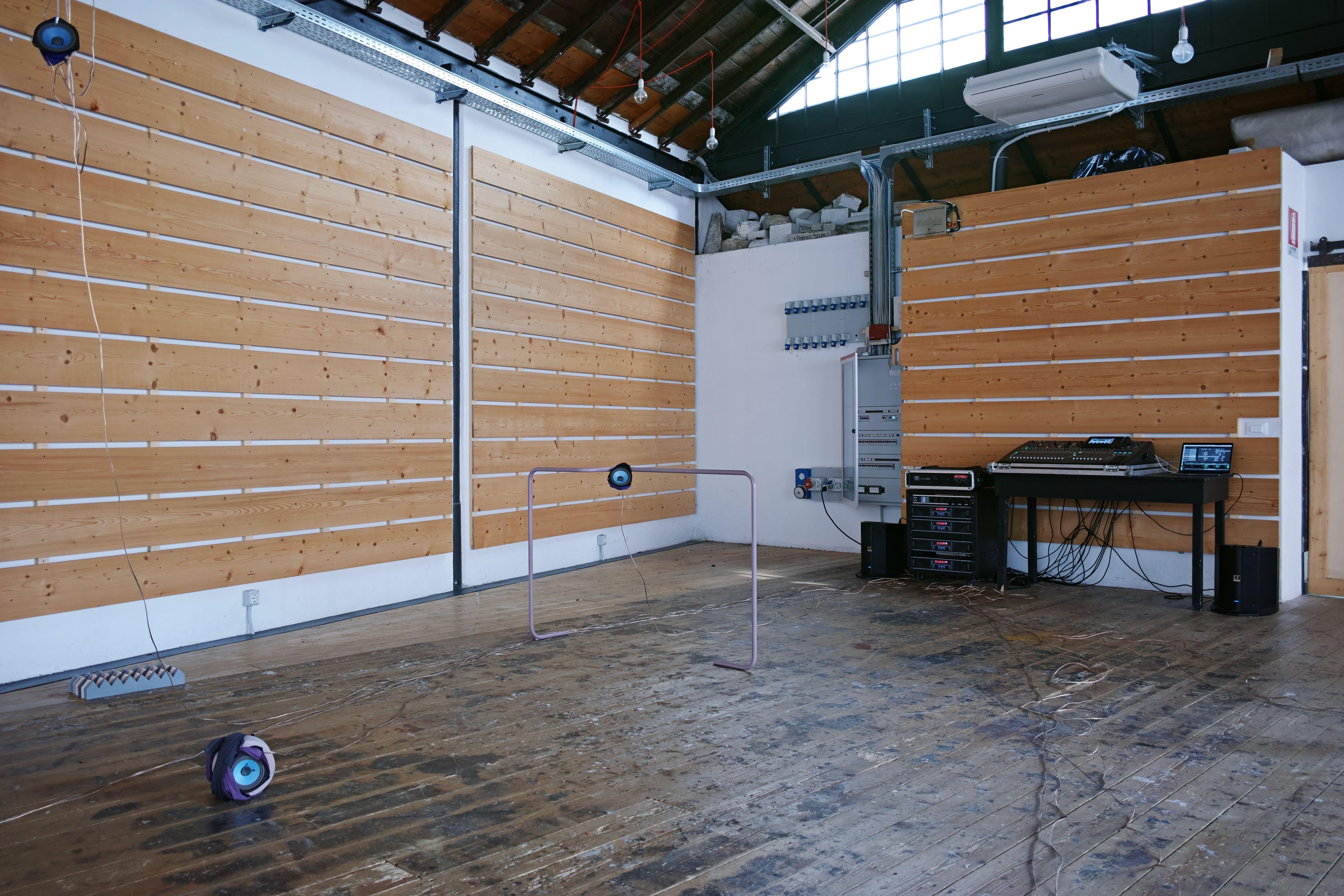 speaker, powder-coated bent metal structures, audio cables, Jesmonite sculpture, Polyester fabric