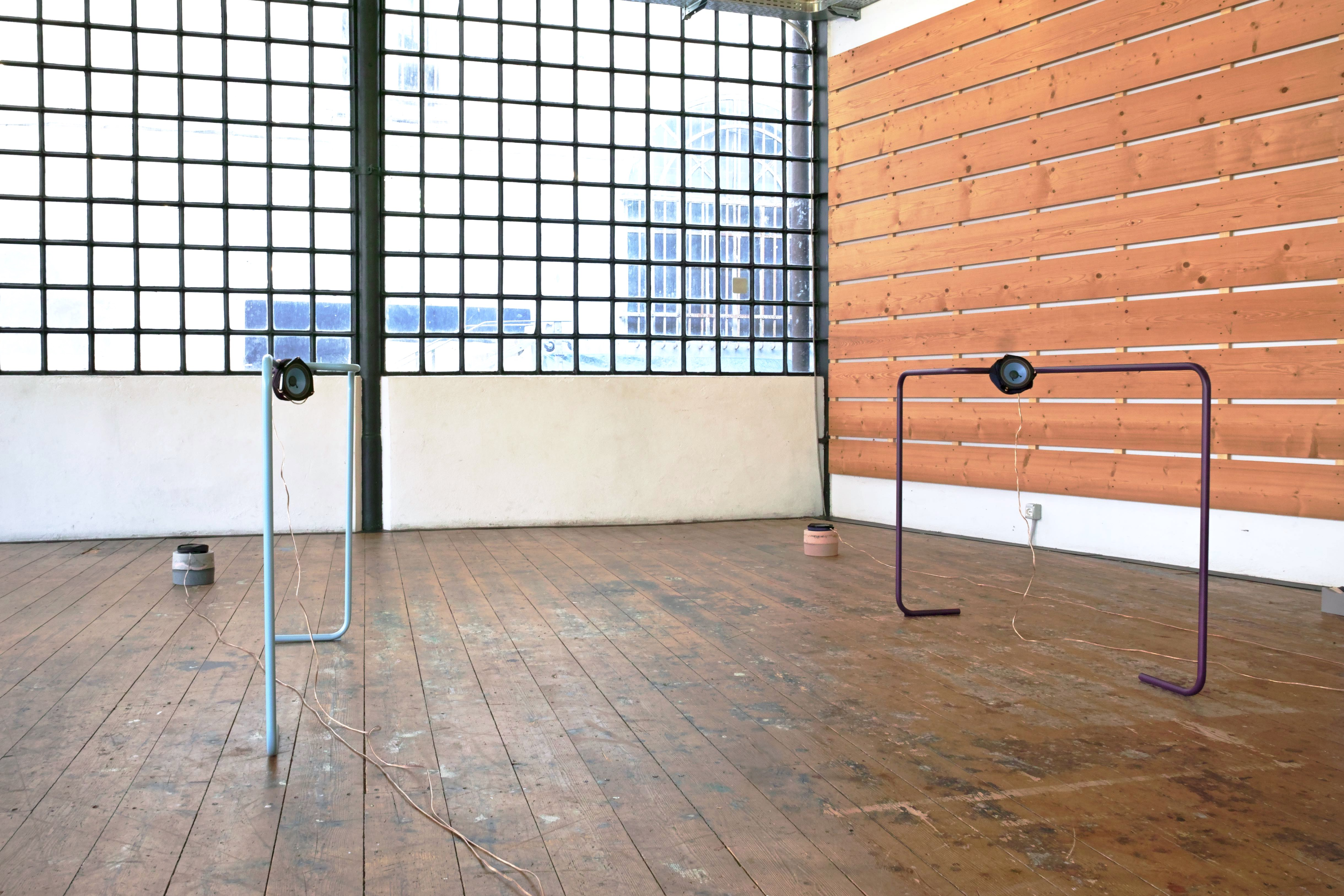 speakers, powder-coated bent metal structures, copper audio cables, Jesmonite sculptures, Lycra, Polyester fabric